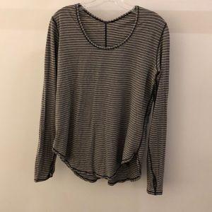lululemon athletica Tops - Lululemon black and taupe stripe LS top, sz 8